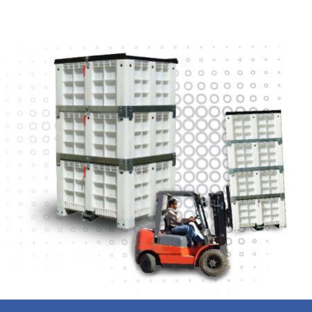 Caixas empilháveis com funil de descarga